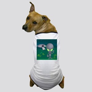 Little alien and his flying saucer Dog T-Shirt