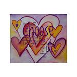 Love Hearts + Poem Words Throw Blanket