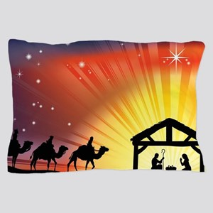 Christian Nativity Scene Pillow Case