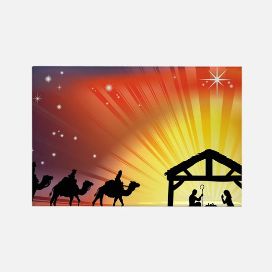 Christian Nativity Scene Rectangle Magnet