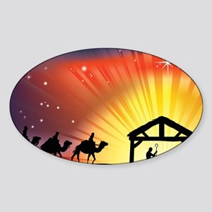 Christian Nativity Scene Sticker (Oval)