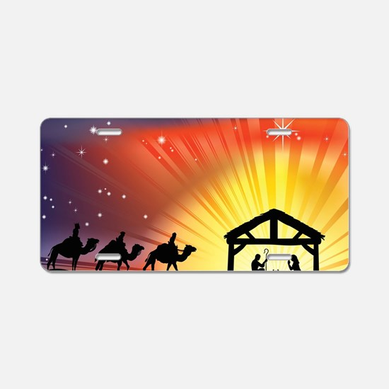 Christian Nativity Scene Aluminum License Plate