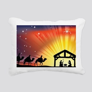Christian Nativity Scene Rectangular Canvas Pillow