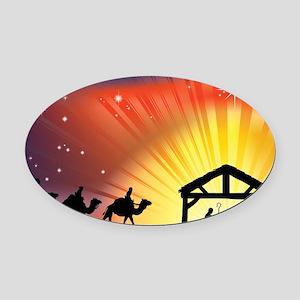 Christian Nativity Scene Oval Car Magnet