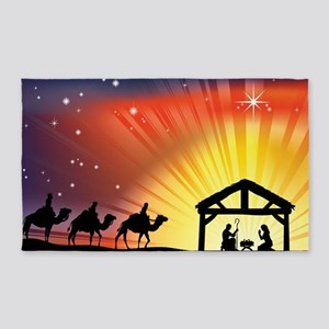 Christian Nativity Scene 3'x5' Area Rug