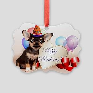 Happy Birthday Chihuahua dog Ornament