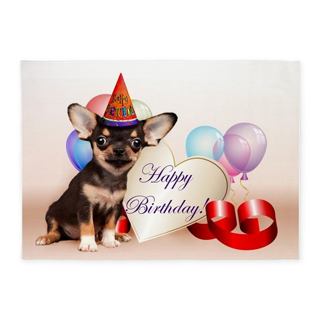 Happy Birthday Chihuahua Dog 5 X7 Area Rug By Ritmoboxers