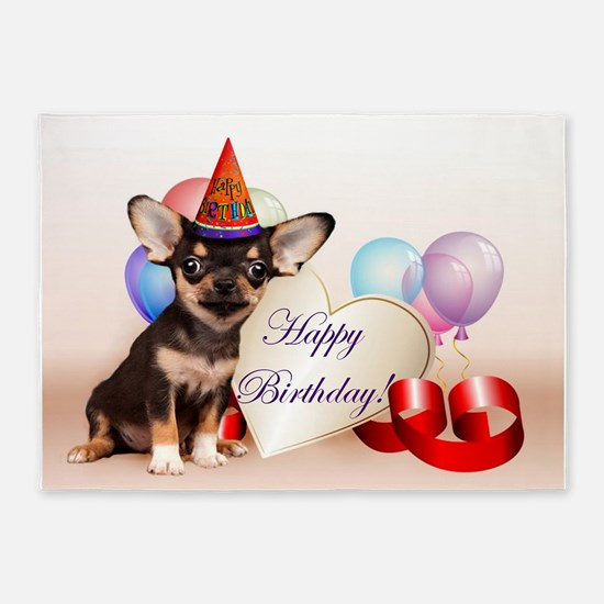 Happy Birthday Chihuahua dog 5'x7'Area Rug
