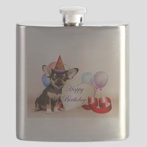 Happy Birthday Chihuahua dog Flask