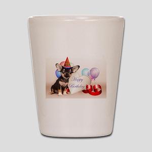 Happy Birthday Chihuahua dog Shot Glass