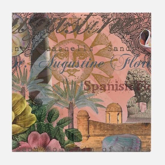 St. Augustine Florida Vintage Collage Tile Coaster