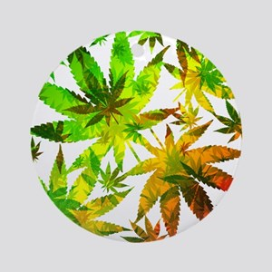 Marijuana Cannabis Leaves Pattern Ornament (Round)