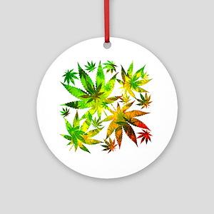 Marijuana Cannabis Leaves Pattern Ornament (Round)