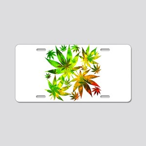 Marijuana Cannabis Leaves Pattern Aluminum License