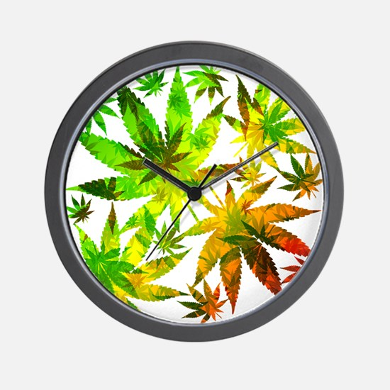 Marijuana Cannabis Leaves Pattern Wall Clock