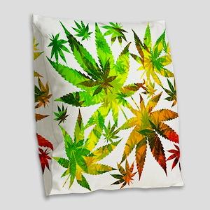Marijuana Cannabis Leaves Pattern Burlap Throw Pil