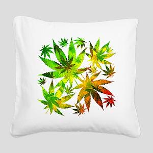 Marijuana Cannabis Leaves Pattern Square Canvas Pi