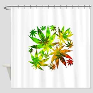 Marijuana Cannabis Leaves Pattern Shower Curtain