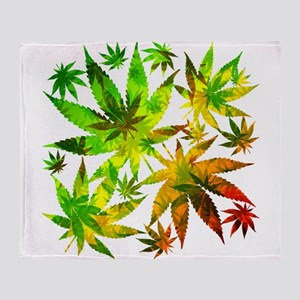 Marijuana Cannabis Leaves Pattern Throw Blanket
