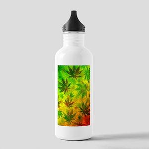 Marijuana Cannabis Leaves Pattern Water Bottle