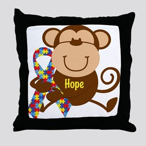 Monkey Autism Hope Throw Pillow