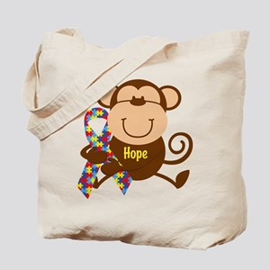 Monkey Autism Hope Tote Bag