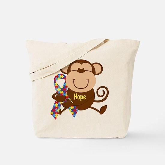 Monkey Autism Hope Tote Bag