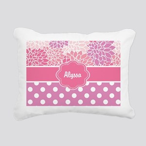 Pink Floral Dots Personalized Rectangular Canvas P