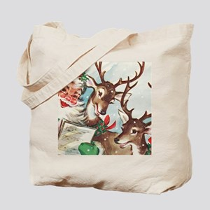 Vintage Santa and Reindeer Tote Bag