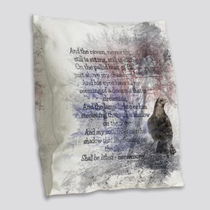 The Raven Edgar Allen Poe Poem Burlap Throw Pillow