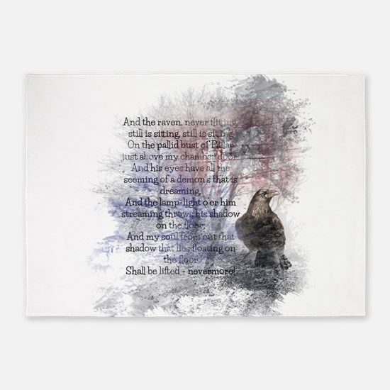 The Raven Edgar Allen Poe Poem 5'x7'Area Rug