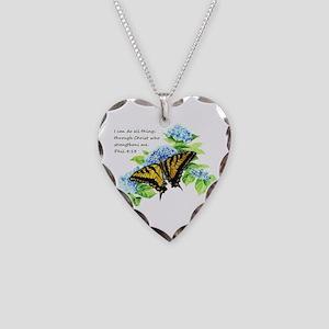 Motivational Scripture Necklace Heart Charm