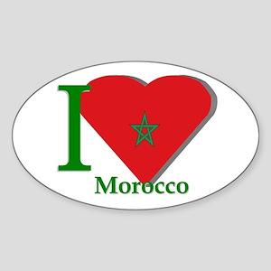 I love Morocco Oval Sticker