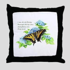 Motivational Scripture Butterfly Throw Pillow