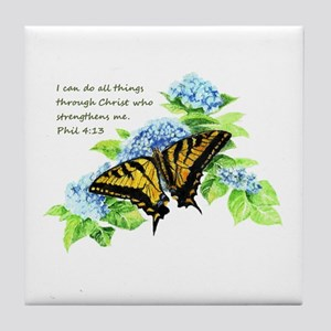 Motivational Scripture Butterfly Tile Coaster