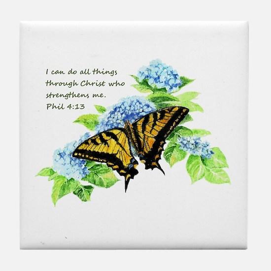 Motivational Scripture Butterfly Tile Coaster