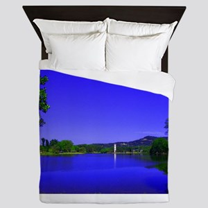Lake and Bell Tower Queen Duvet