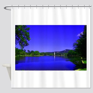 Lake and Bell Tower Shower Curtain