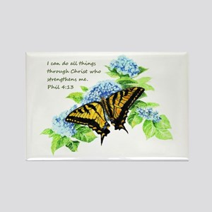 Motivational Scripture Butterfly Hydrengea Magnets