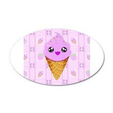 Strawberry Kawaii Ice Cream Cone bg Wall Decal