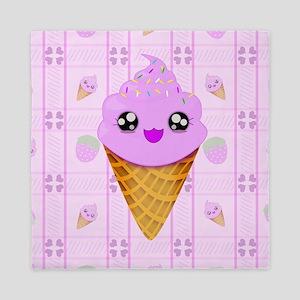 Strawberry Kawaii Ice Cream Cone bg Queen Duvet