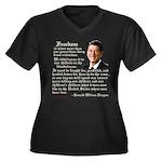 Ronald Reagan Freedom Quote Wm Plus Sz V-Neck Dk T
