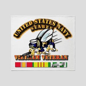 Navy - Seabee - Vietnam Vet Throw Blanket