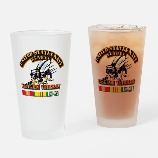 Navy - Seabee - Vietnam Vet Drinking Glass