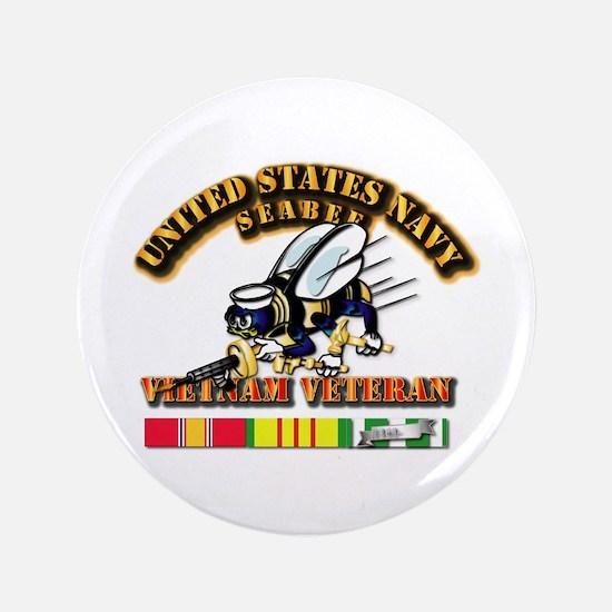 """Navy - Seabee - Vietnam Vet 3.5"""" Button"""