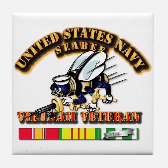 Navy - Seabee - Vietnam Vet Tile Coaster