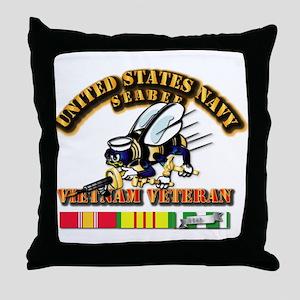 Navy - Seabee - Vietnam Vet Throw Pillow