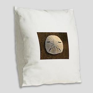 Sand Dollar Seashell Burlap Throw Pillow