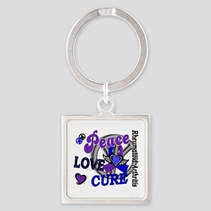 RA Peace Love Cure 2 Square Keychain