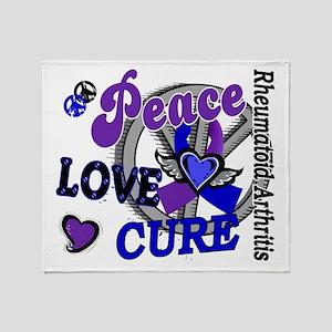 RA Peace Love Cure 2 Throw Blanket